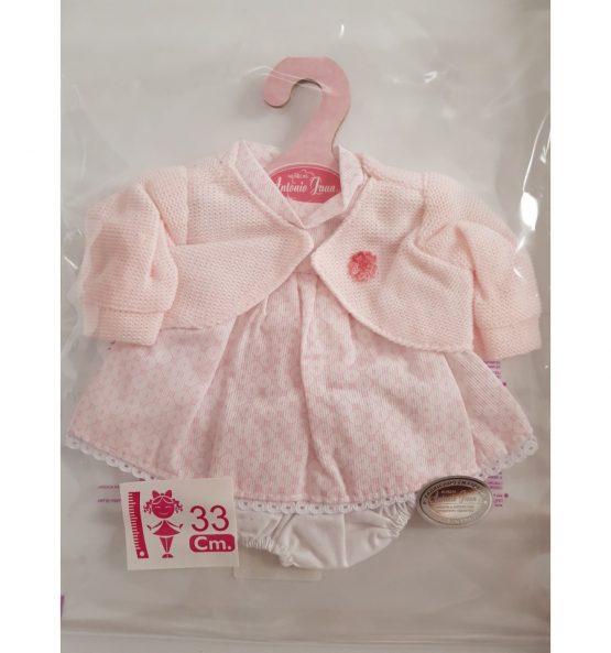 Vestido estampado con rebeca rosa