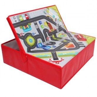 Circuito de coches y caja de almacenamiento 2 en 1