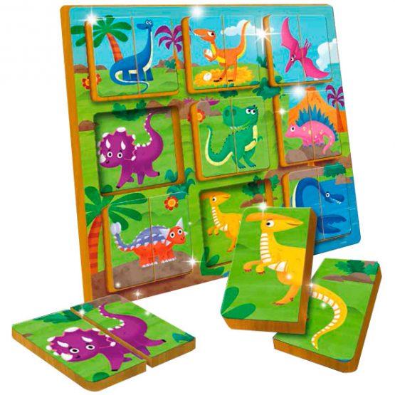 Puzzle dúo Dinosaurios en madera