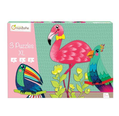 3 Puzzles XL Pájaros Tropicales